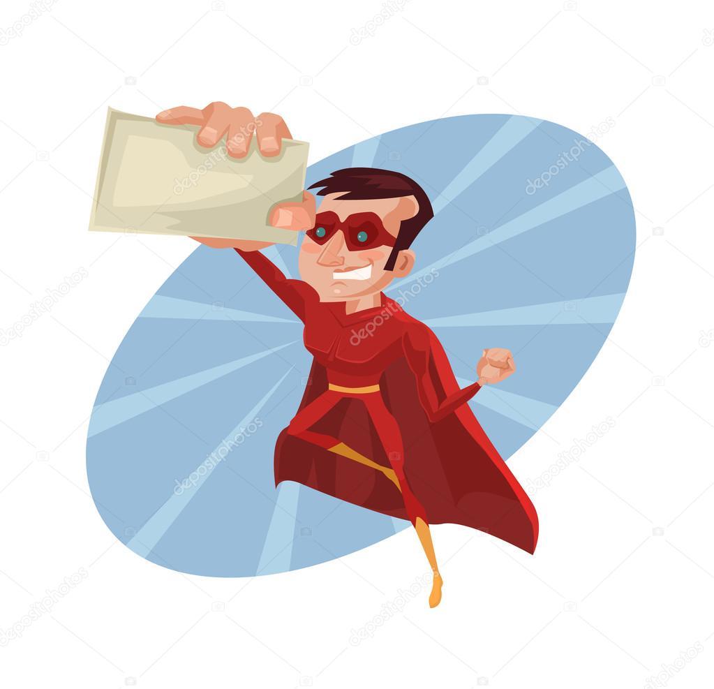 Superhero business card. Vector flat cartoon illustration — Stock ...