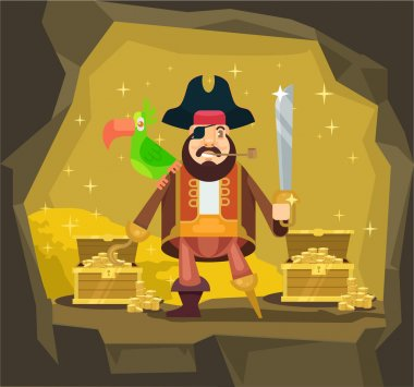 Pirate with gold. Vector flat cartoon illustration