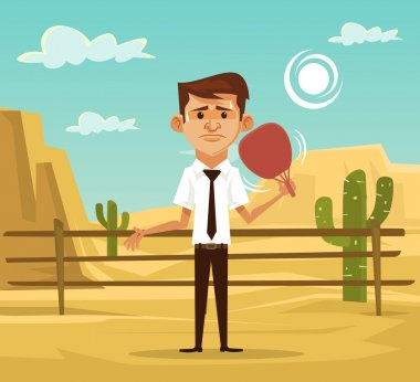 Man in desert. Vector flat illustration