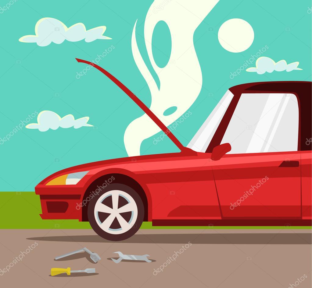 voiture cass e accident avec la voiture surchauffe moteur voiture rouge crash et accident. Black Bedroom Furniture Sets. Home Design Ideas