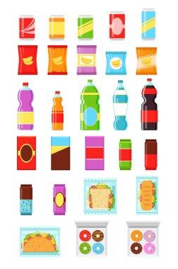 Packaging food. Bottle set. Soda in bottle. Chocolate packaging. Packaging cookie. Bottle and packaging chips. Package of bottle. Package of chips. Package of cookie. Vector package flat icon set
