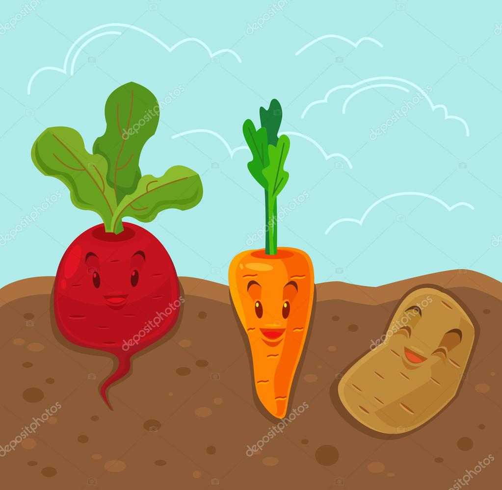 Фотообои Cartoon funny vegetables. Vector flat illustration