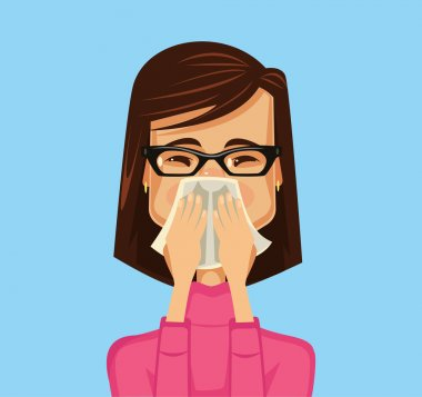 Allergy woman. Vector flat illustration