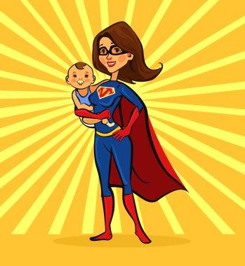 Super mom. Vector flat cartoon illustration