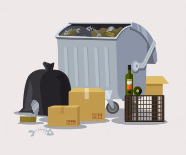 Street trashcan. Vector flat cartoon illustration