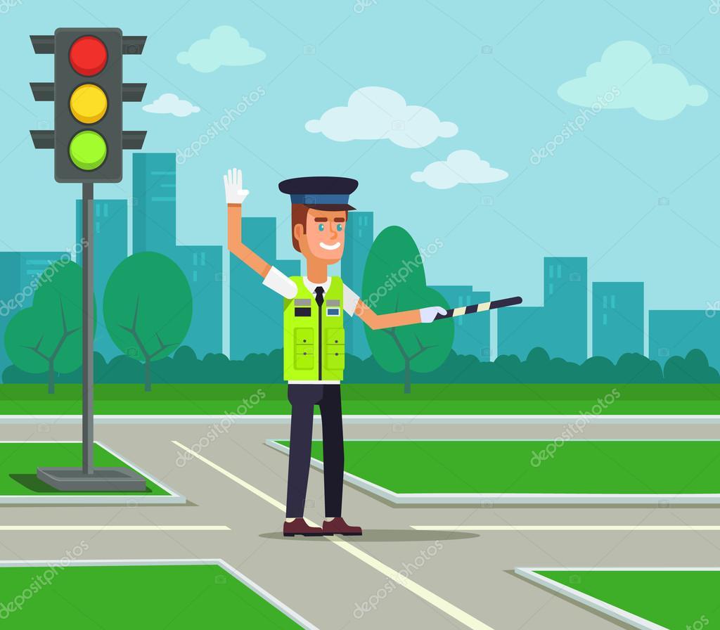 Trafik Polisi. Vektör Düz çizgi Film Illüstrasyon
