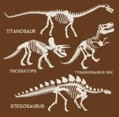 Fotografie Dinosaurier-Silhouetten gesetzt. Vektor Flat Set Illustration