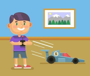 Boy playing RC car. Vector flat cartoon illustration