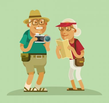 Grandparents tourists. Vector flat cartoon illustration