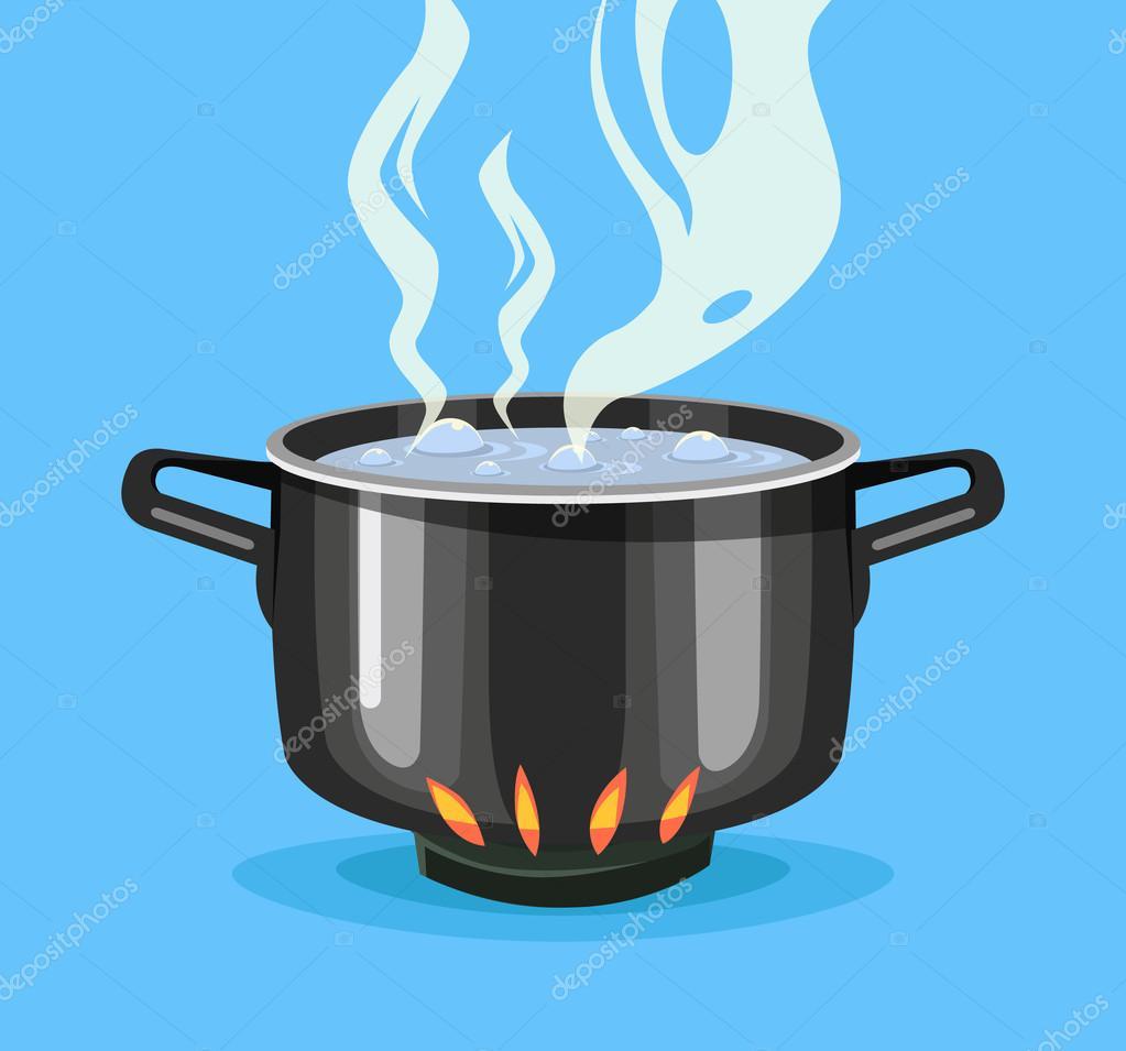 Agua hirviendo en la bandeja bote negro grande for Cocinando 1000 huevos