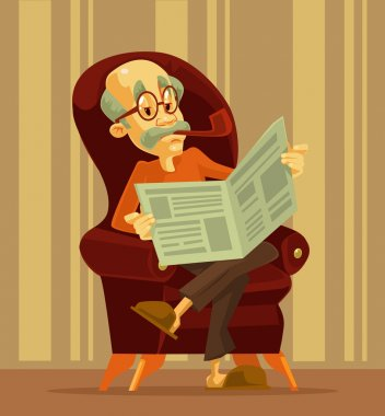 Old man reading newspaper. Grandfather smoking. Vector flat cartoon illustration