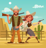 Fotografie Bonnie and Clyde. Woman and man thieves. Western robbers. Vector flat cartoon illustration