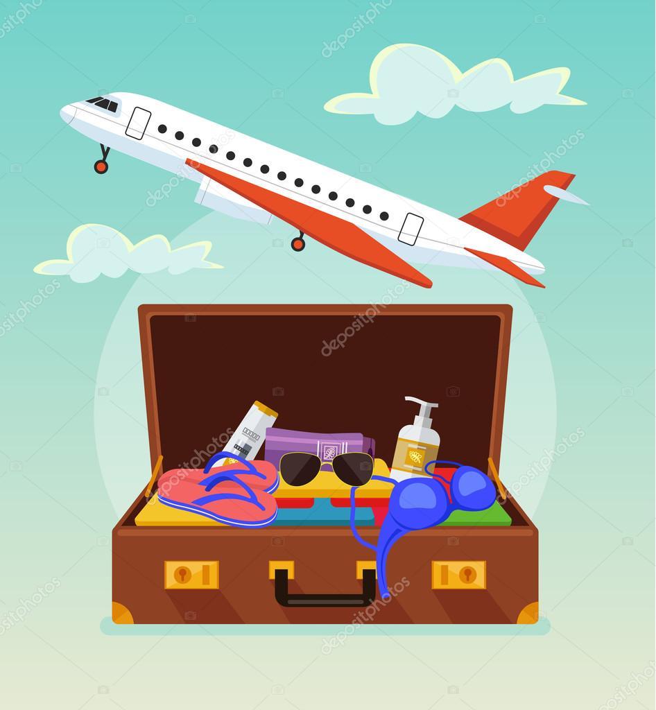 Maleta abierta con la materia tur stica bandera de turismo bandera de viaje ilustraci n de - Banera de viaje ...