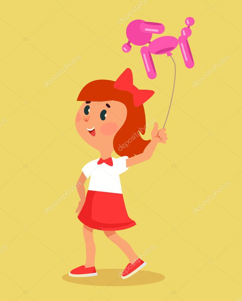 Bonne Petite Fille Se Promène Avec Ballon De Chien