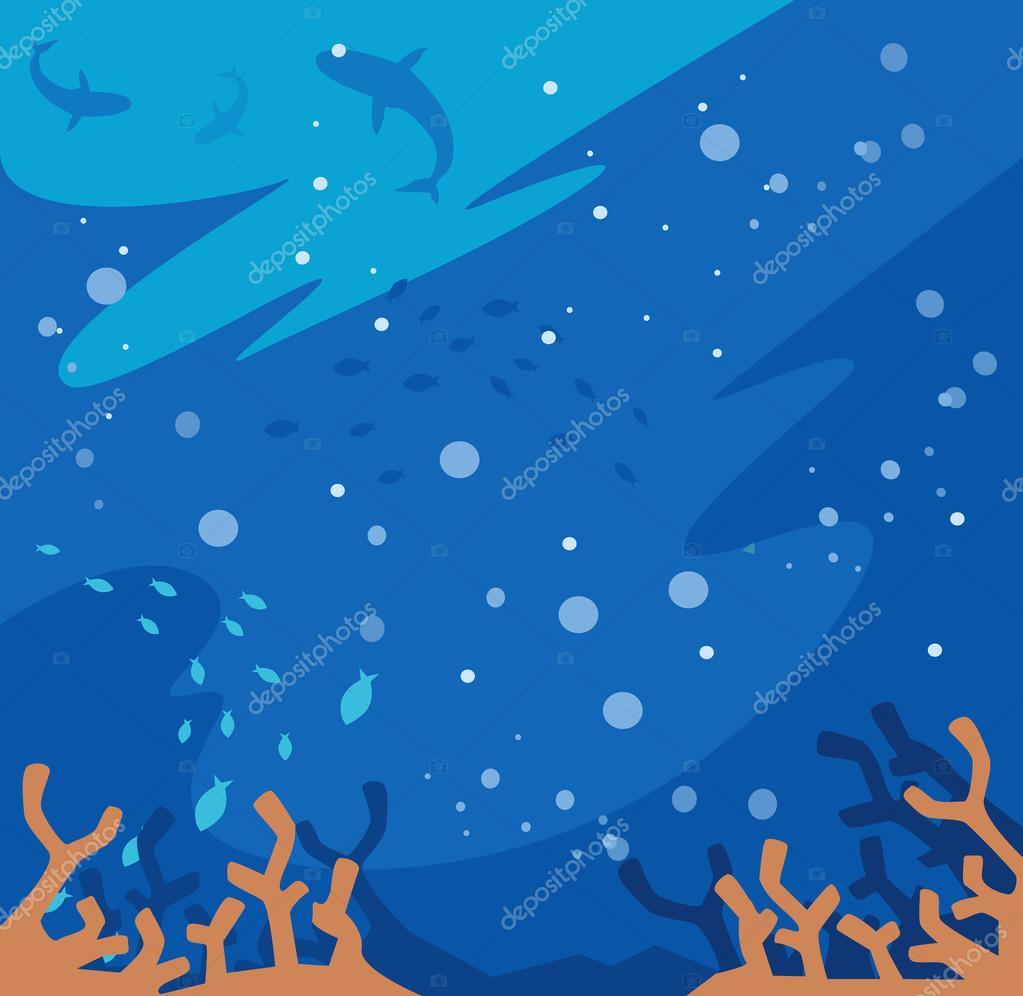 Underwater tapet. Vektor platt karikatyr illustration ...