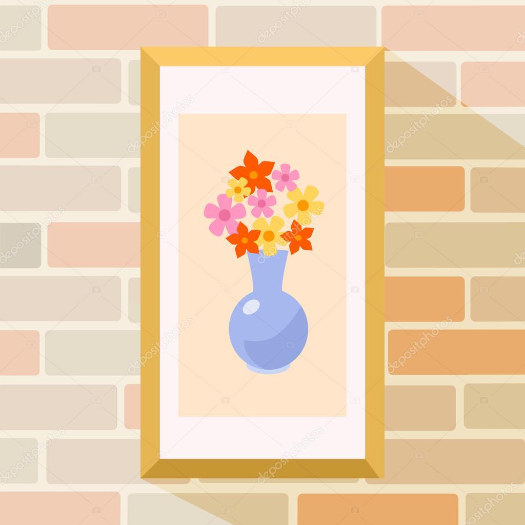 Blumen-Bild im Rahmen. Vektor-flache Cartoon-illustration ...