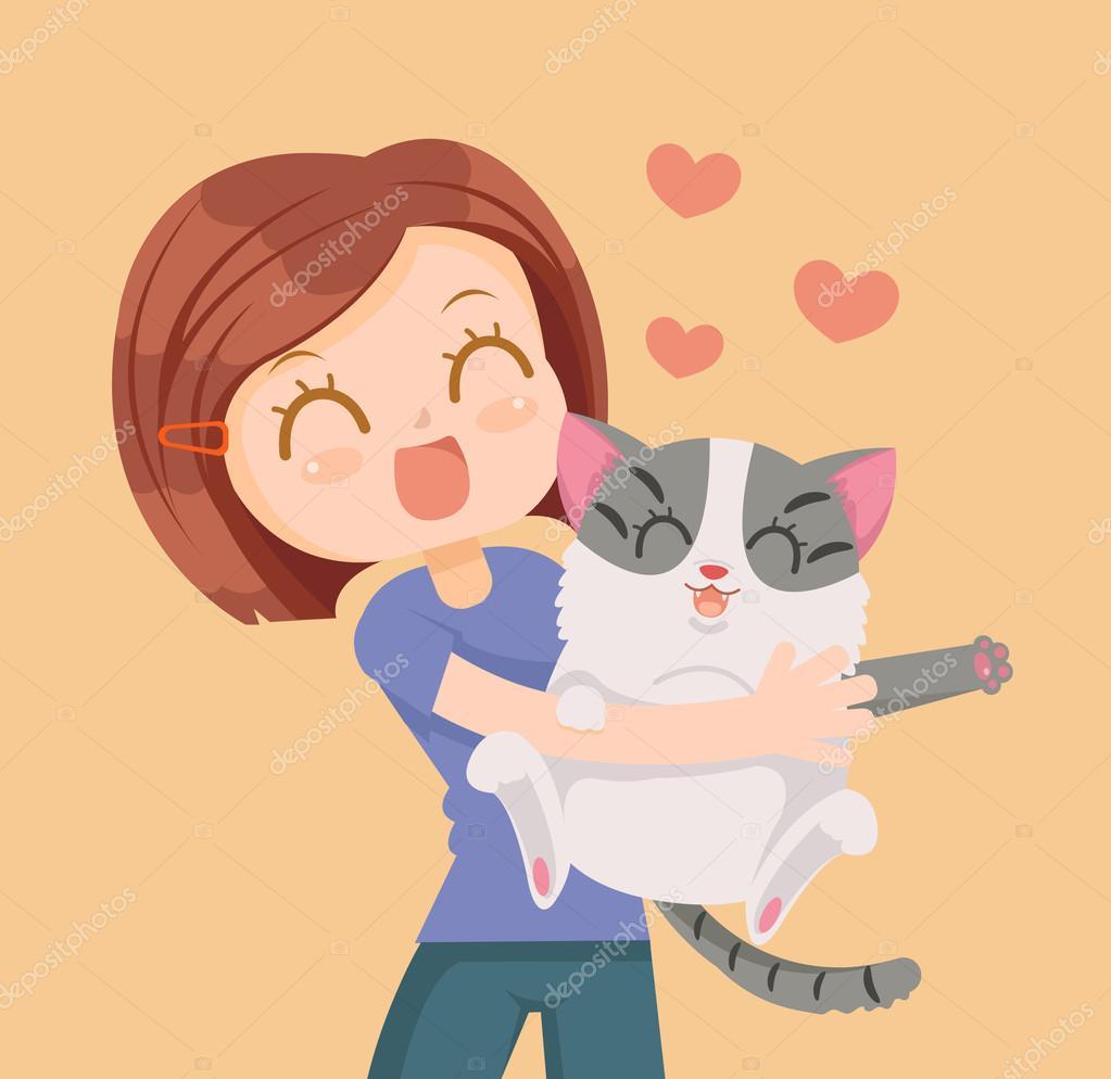 Personajes De Niña Y Gato Un Abrazo Mejores Amigos Ilustración De