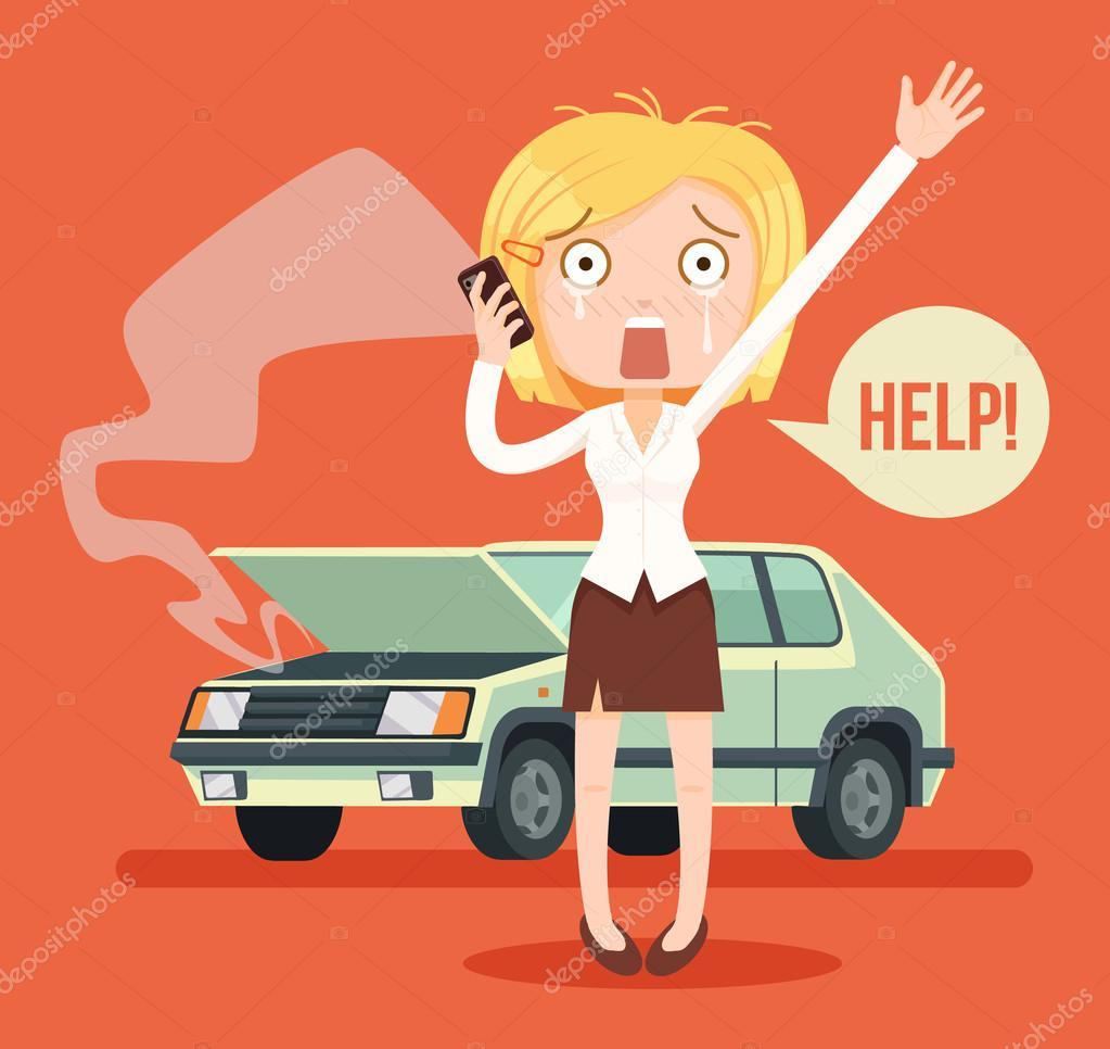 Personnage femme pleurer appel apr s l accident de voiture illustration de dessin anim plane - Accident de voiture dessin ...
