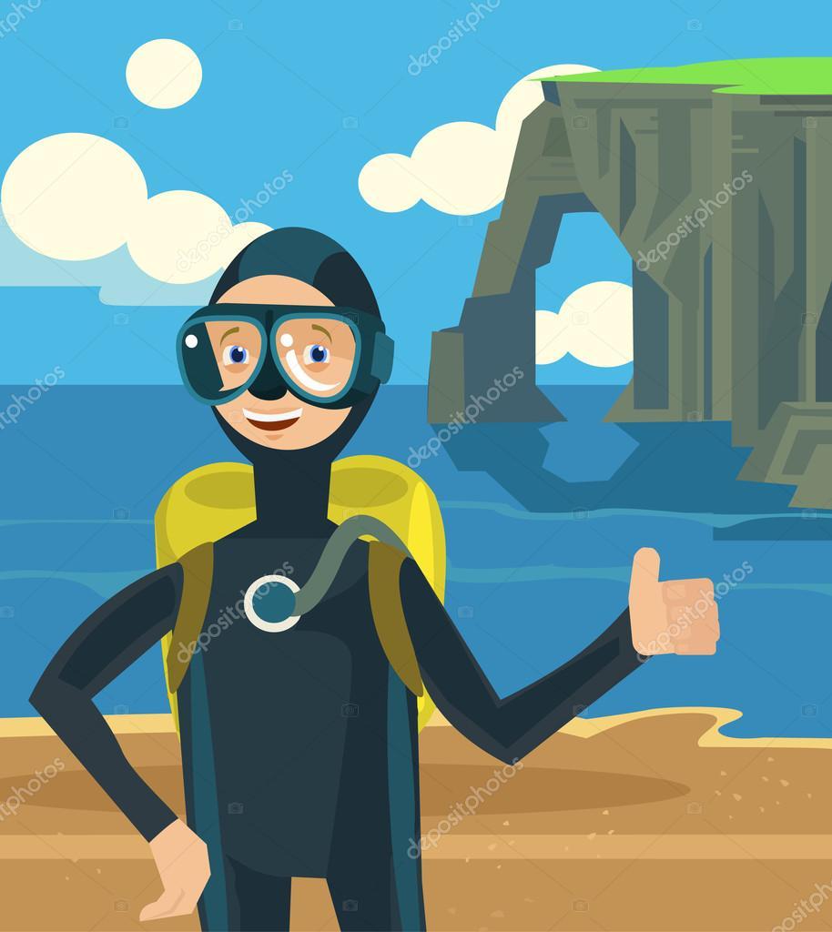 Diver on vacation character. Vector flat cartoon illustration