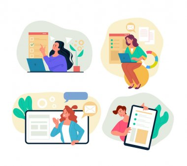 Online internet bsiness activity education training searching concept. Vector cartoon flat graphic design illustration icon
