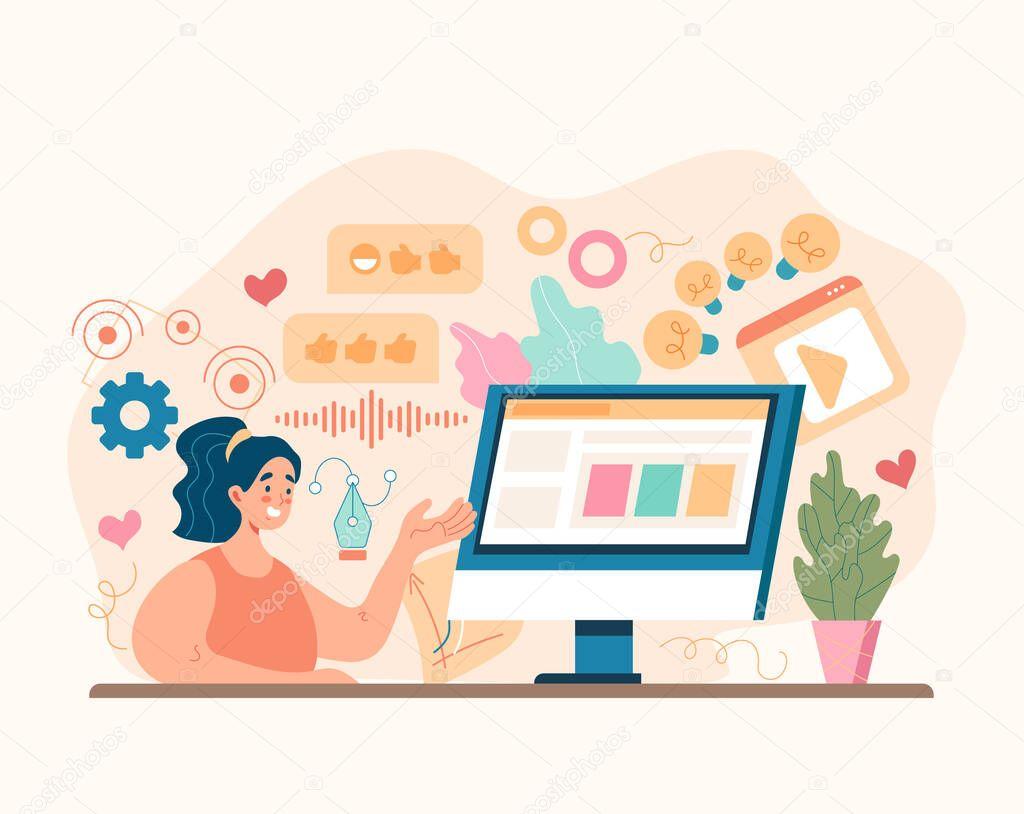 Social media marketing business advertising concept icon