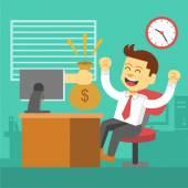 Businessman win. Online business deal. Vector flat illustration