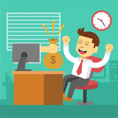 Businessman win. Online business deal. Vector flat illustration