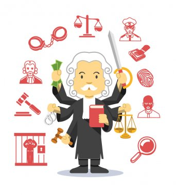 Judge vector flat illustration icon set