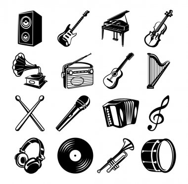 Music black Icons set