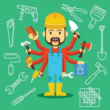 Vector handsome builder with lot of hands stock vector