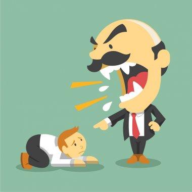 Boss screams on worker. Vector flat illustration
