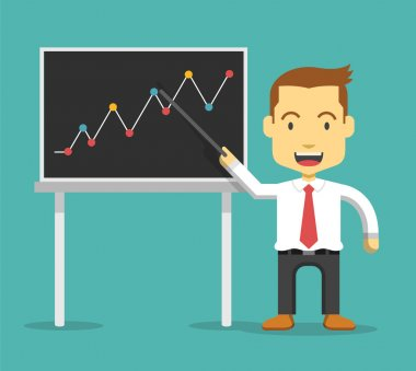 Businessman show business growing graph. Vector flat illustration