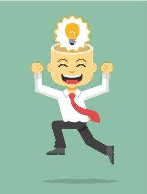 Businessman has idea. Vector flat illustration