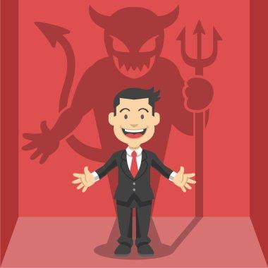 Businessman's shadow. Vector flat illustration