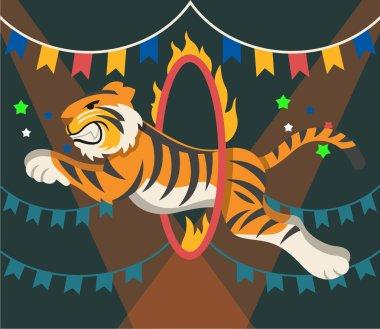 Circus tiger. Vector flat illustrationarena
