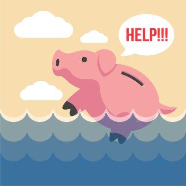 Piggy bank. Vector flat illustration