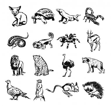 Desert animals vector black doodle outline pictogram icon set stock vector