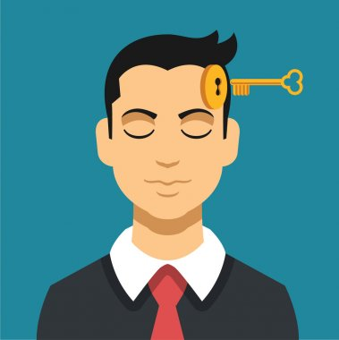 Head with key. Vector flat illustration