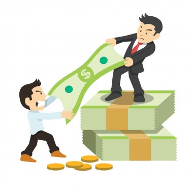 Fighting for money. Vector flat illustration