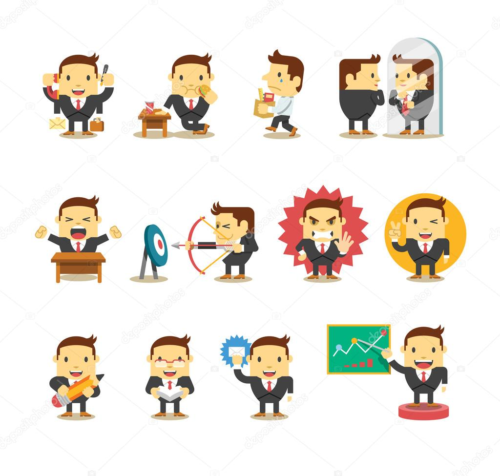 Set of businessman. Vector flat illustration