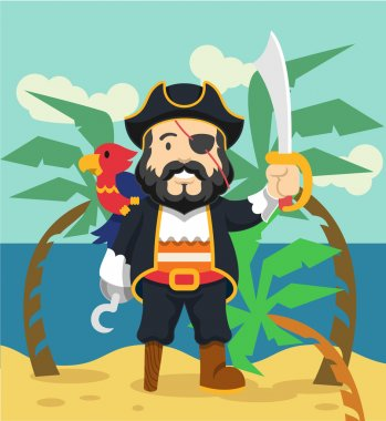 Pirate vector flat illustration