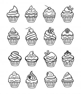 Vector cupcake black doodle icon set