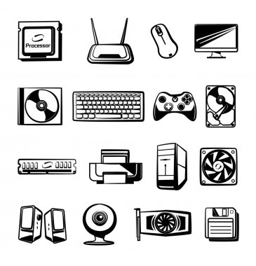 Vector hardware icons set. Modern stylish black graphic design elements,  illustrations, signs, pictograms, outlines, silhouettes. Isolated on white background