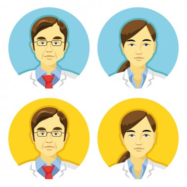 Vector doctors avatars icons set