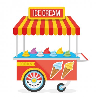 Shiny colorful ice cream cart vector illustration