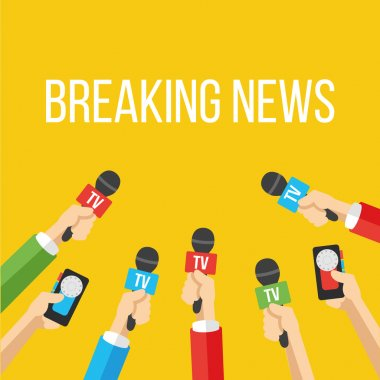 Breaking news flat style vector illustration. Creative graphic design concept. Mass media industry signs, symbols, objects, icons, abstract elements. Trendy yellow background. stock vector