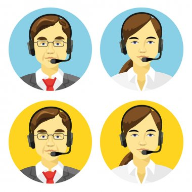 Call center operators avatars vector round flat icons set