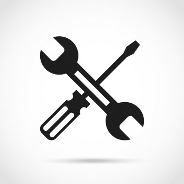 Crossed black and white wrench and screwdriver logo design elements.Creative customize,development, repair concept.Great quality vector illustration.Isolated on trendy radial gradient white background stock vector