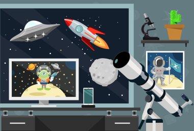 Vector astronomy flat illustration