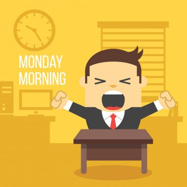 Yawning office worker. Monday morning concept.